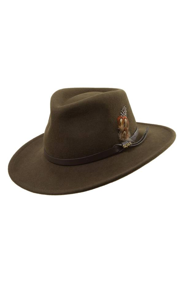 スカラ メンズ 帽子 アクセサリー Scala 'Classico' Crushable Felt Outback Hat Olive