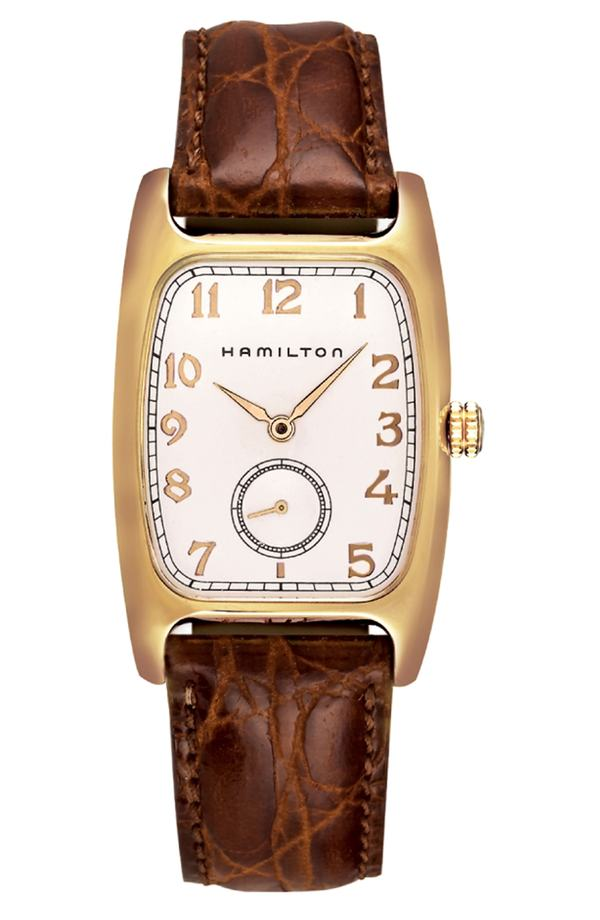 ハミルトン レディース 腕時計 アクセサリー Hamilton American Classic Boulton Leather Strap Watch, 27mm x 31mm Brown/ White/ Gold