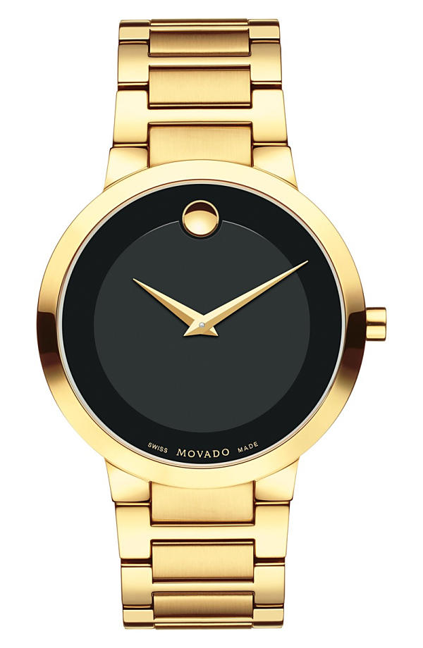 モバド レディース 腕時計 アクセサリー Movado Modern Classic Bracelet Watch, 39mm Gold/ Black/ Gold