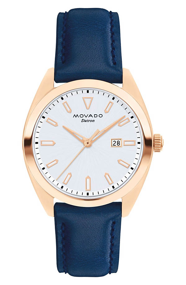 モバド レディース 腕時計 アクセサリー Movado Heritage Datron Leather Strap Watch, 31mm Blue/ White/ Rose Gold