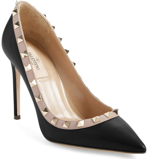ヴァレンティノ レディース パンプス シューズ VALENTINO GARAVANI Rockstud Pointed Pump Black/ Nude Leather