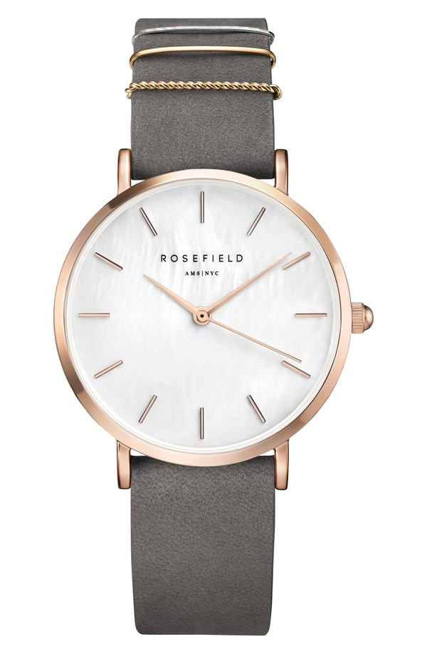 ローズフィールド レディース 腕時計 アクセサリー Rosefield Holiday Leather Strap Watch & Bracelet Gift Set, 33mm Grey/ Rose Gold/ Silver