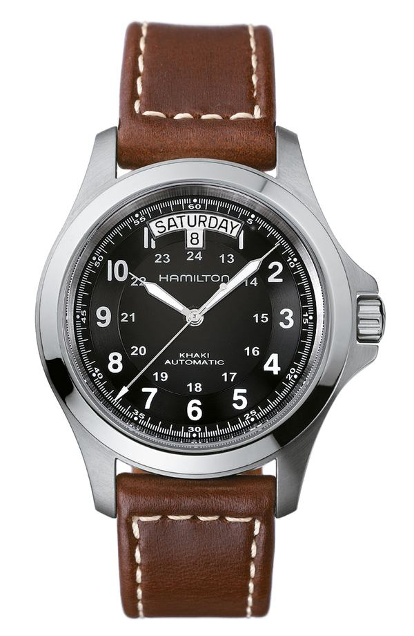 ハミルトン レディース 腕時計 アクセサリー Hamilton Khaki King Automatic Leather Strap Watch, 40mm Brown/ Black/ Silver