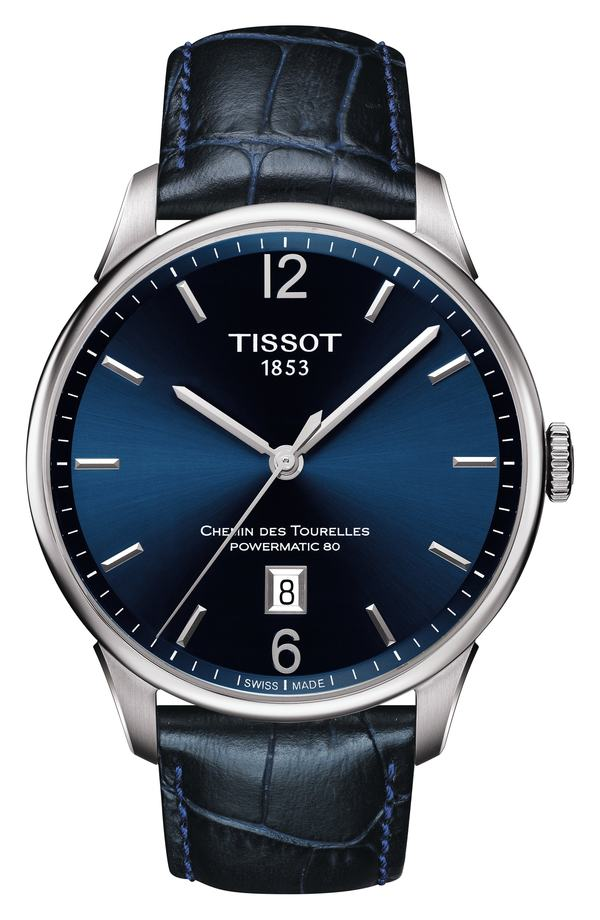 ティソット メンズ 腕時計 アクセサリー Tissot Chemin des Tourelles Powermatic 80 Watch, 42mm Blue/ Silver