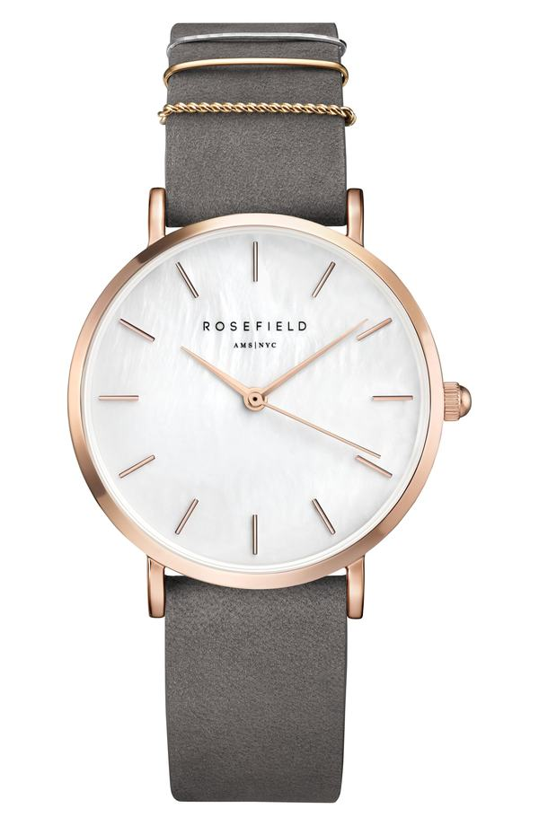 ローズフィールド レディース 腕時計 アクセサリー Rosefield West Village Leather Strap Watch, 33mm Grey/ White Pearl/ Rose Gold