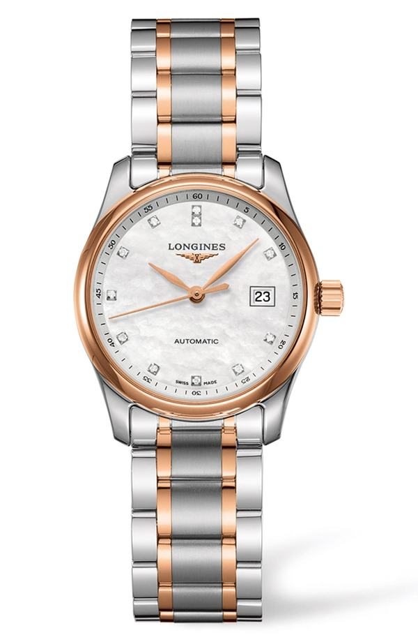 ロンジン レディース 腕時計 アクセサリー Longines Master Automatic Diamond Bracelet Watch, 29mm Silver/ Mop/ Silver
