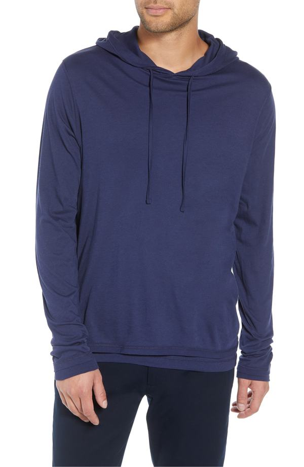 ヴィンス メンズ Tシャツ トップス Vince Regular Fit Double Layer Hoodie Cadet Blue