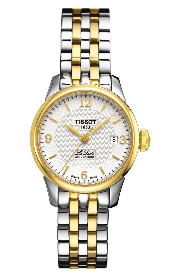 ティソット レディース 腕時計 アクセサリー Tissot Le Locle Automatic Bracelet Watch, 25mm Silver/ Gold