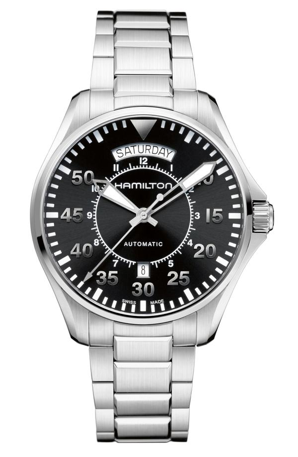 ハミルトン レディース 腕時計 アクセサリー Hamilton Khaki Aviation Automatic Bracelet Watch, 42mm Silver/ Black/ Silver