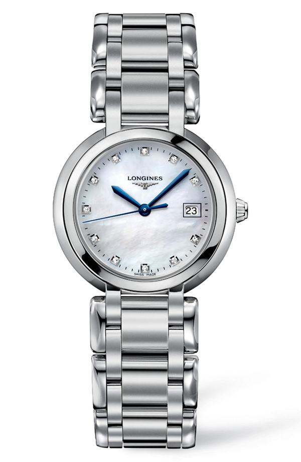 ロンジン レディース 腕時計 アクセサリー Longines PrimaLuna Diamond Bracelet Watch, 30mm Silver/ Mop/ Silver