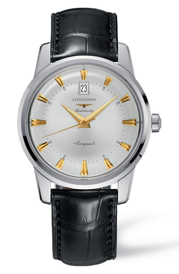 ロンジン レディース 腕時計 アクセサリー Longines Conquest Heritage Automatic Leather Strap Watch, 40mm Black/ Silver/ Gold