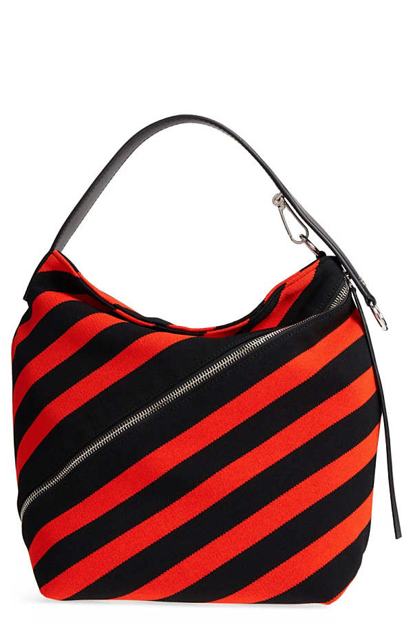 プロエンザショラー レディース ハンドバッグ バッグ Proenza Schouler Medium Asymmetric Zip Stripe Textile Hobo Black/ Hot Coral