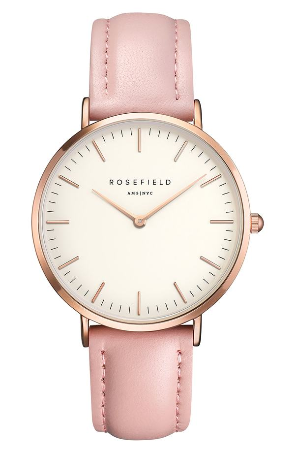 ローズフィールド レディース 腕時計 アクセサリー Rosefield Bowery Leather Strap Watch, 38mm Pink/ White/ Rose Gold