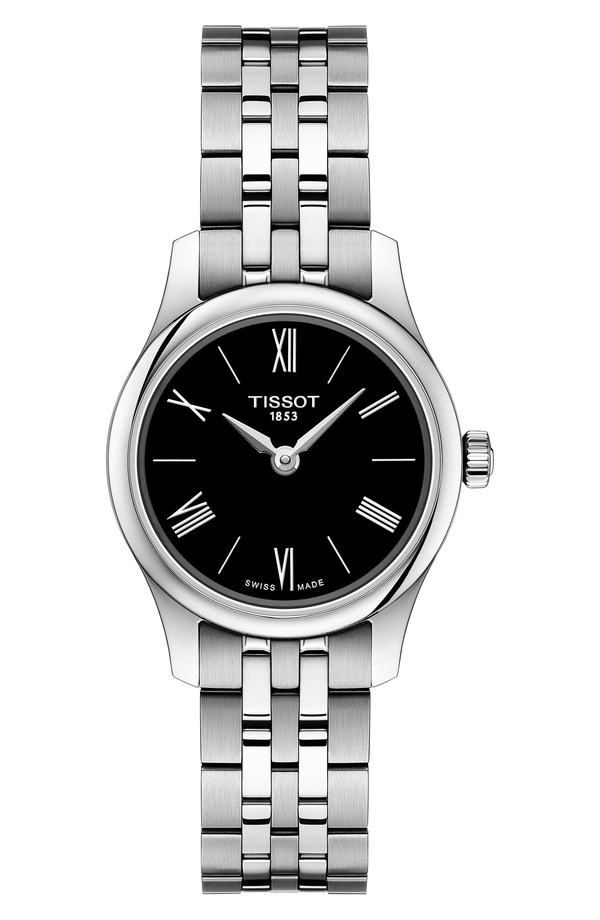 ティソット レディース 腕時計 アクセサリー Tissot Tradition 5.5 Lady Round Bracelet Watch, 25mm Silver/ Black/ Silver