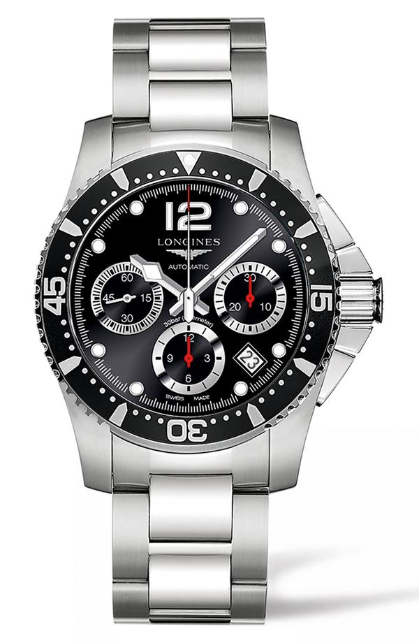 ロンジン レディース 腕時計 アクセサリー Longines HydroConquest Automatic Bracelet Watch, 41mm Silver/ Black/ Silver