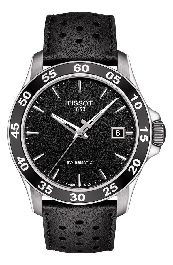 ティソット メンズ 腕時計 アクセサリー Tissot V8 Swissmatic Perforated Leather Strap Watch, 42mm Black/ Silver