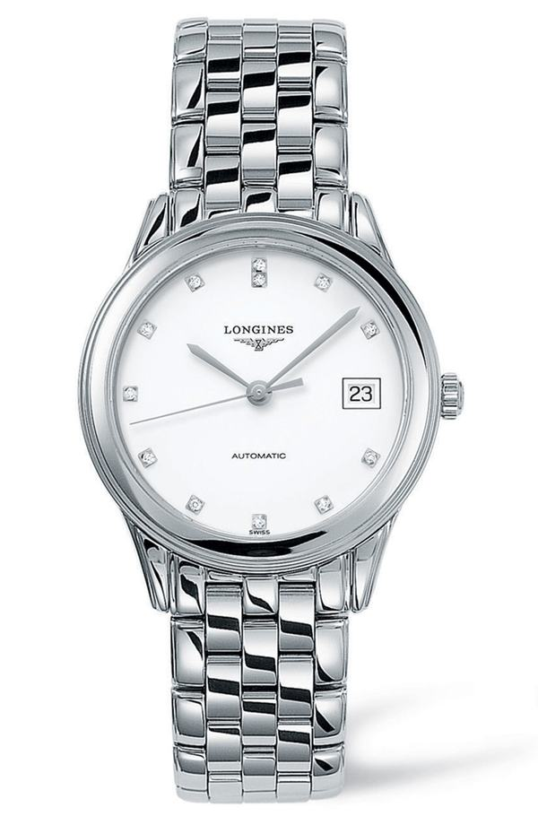 ロンジン レディース 腕時計 アクセサリー Longines Flagship Automatic Diamond Bracelet Watch, 35.5mm Silver/ White/ Silver