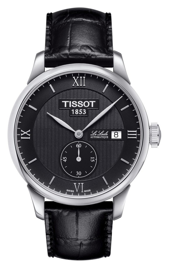 ティソット レディース 腕時計 アクセサリー Tissot Le Locle Automatic Leather Strap Watch, 39mm Black/ Silver