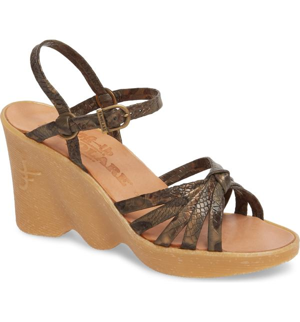 ファモラーレ レディース ヒール シューズ Famolare Knotty Monkey Wedge Sandal Snake Print Leather