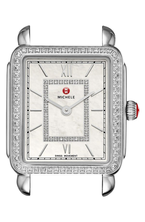 ミッシェル レディース 腕時計 アクセサリー MICHELE Deco II Diamond Dial Watch Case, 26mm x 28mm (Nordstrom Exclusive) Silver