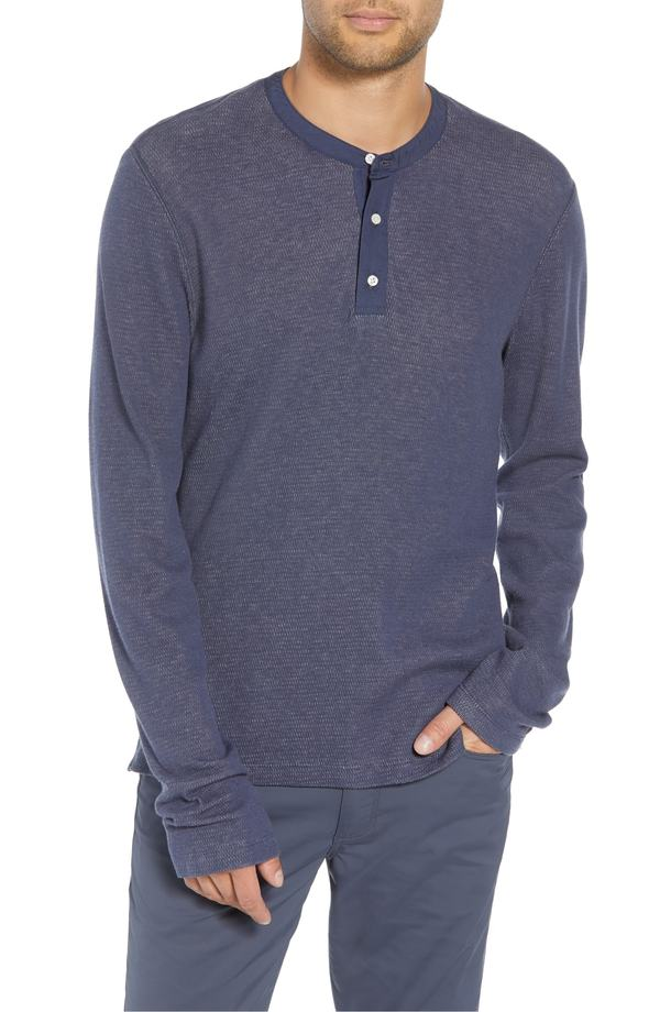 ヴィンス メンズ Tシャツ トップス Vince Classic Fit Thermal Henley Sail/ H Grey