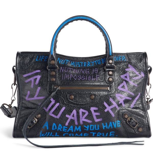 バレンシアガ レディース トートバッグ バッグ Balenciaga Small Classic City Graffiti Leather Tote Noir/ Bleu/ Violet
