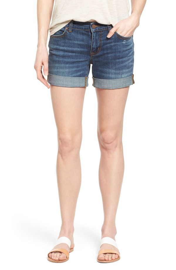 カスロンズ レディース デニムパンツ ボトムス Caslon Rolled Denim Boyfriend Shorts (Regular & Petite) Medium Destruct