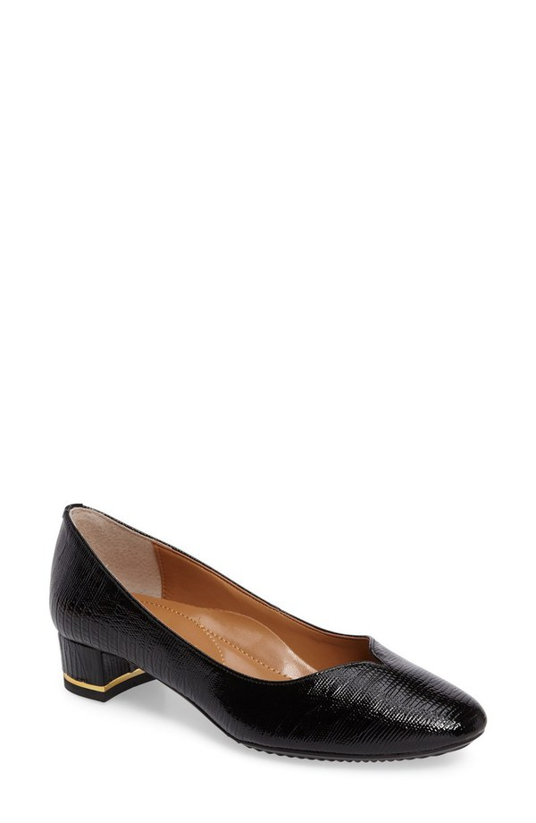 ジェイレニー レディース ヒール シューズ J. Rene Bambal Block Heel Pump (Women) Black Faux Leather
