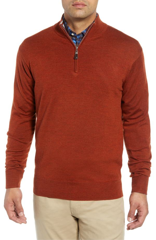 ピーター・ミラー メンズ パーカー・スウェット アウター Peter Millar Crown Soft Regular Fit Wool Blend Quarter Zip Sweater Orange