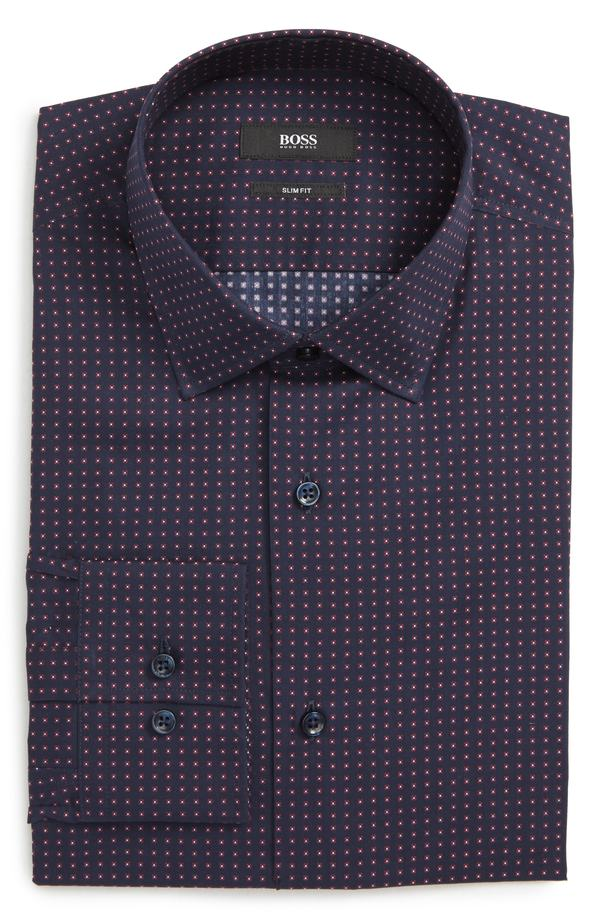 ボス メンズ シャツ トップス BOSS Jenno Slim Fit Dot Dress Shirt Navy