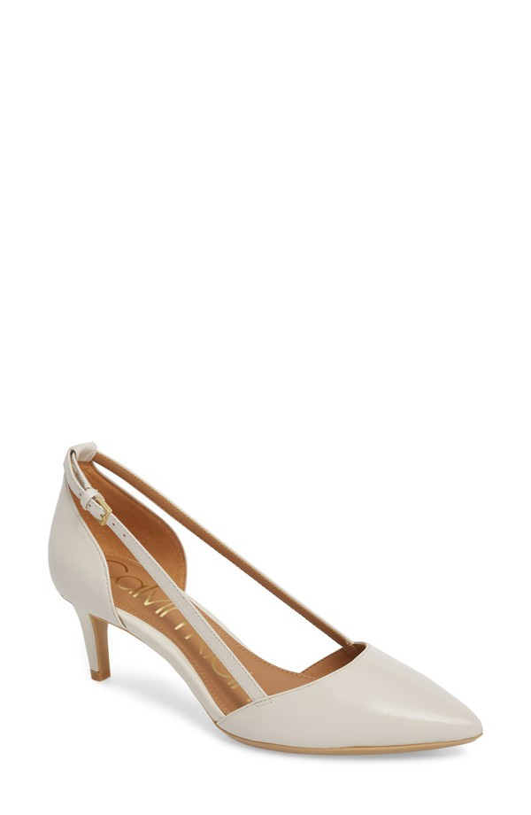 カルバンクライン レディース ヒール シューズ Calvin Klein Pashka Strappy Open Sided Pump (Women) Soft White Leather