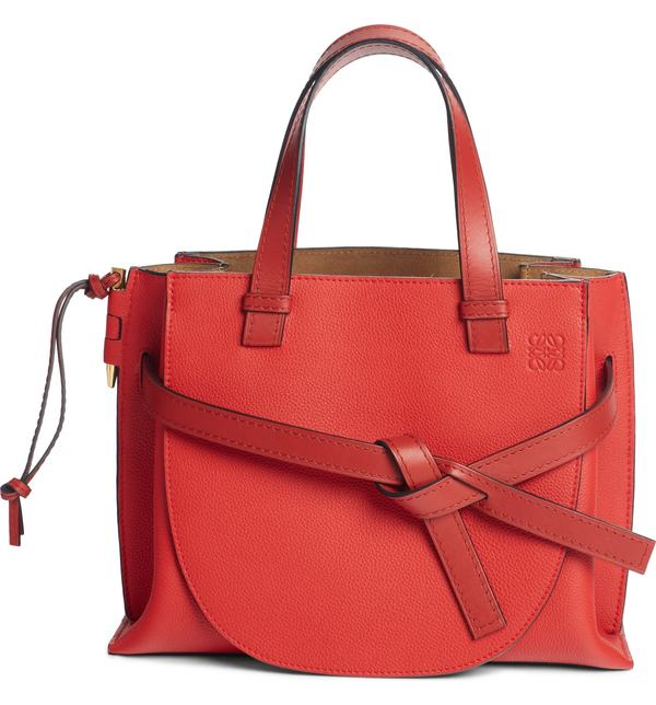 Tote Gate バッグ Red Leather Loewe Scarlet Burnt ロエベ トートバッグ Calfskin レディース Red/