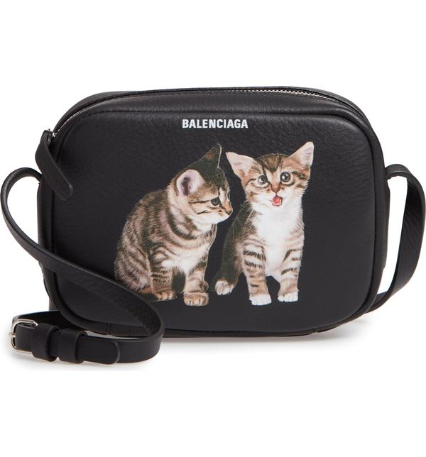 バレンシアガ レディース ショルダーバッグ バッグ Balenciaga Extra Small Kittens Calfskin Leather Camera Bag Noir/ Blanc