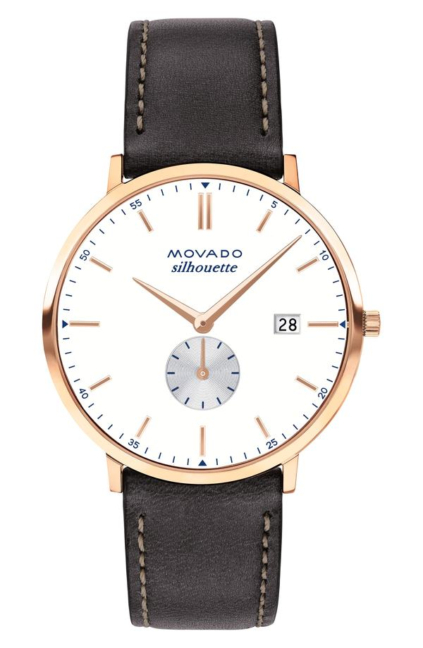 モバド レディース 腕時計 アクセサリー Movado Heritage Silhouette Leather Strap Watch, 40mm Chocolate/ White/ Rose Gold