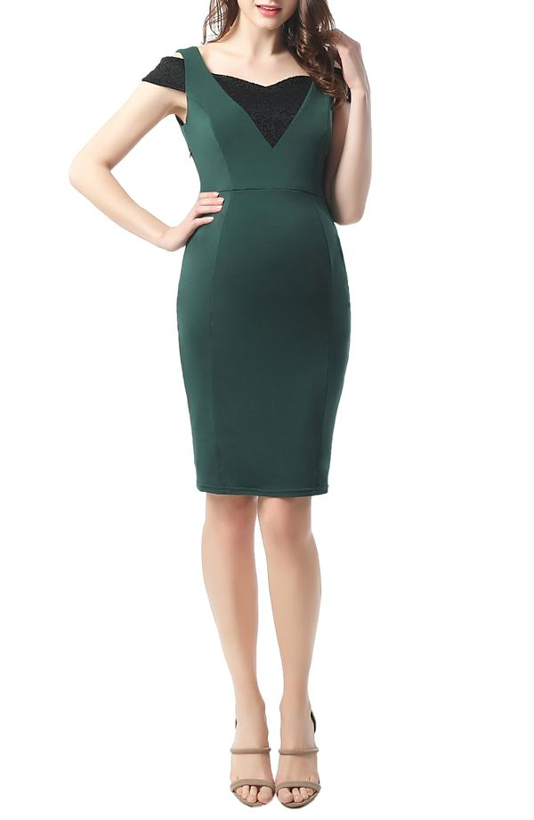 キミアンドカイ レディース ワンピース トップス Kimi and Kai Taylor Cold Shoulder Maternity Body-Con Dress Forrest Green