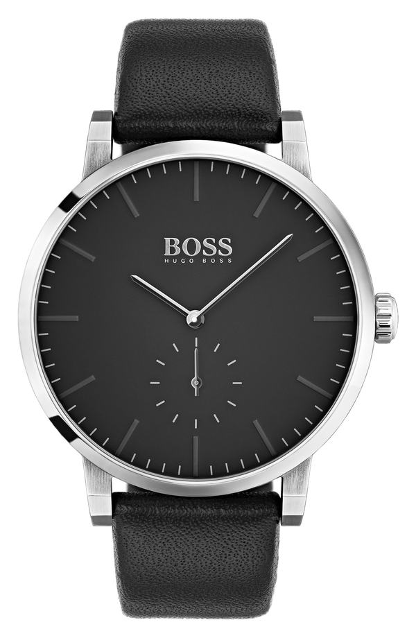 ボス レディース 腕時計 アクセサリー BOSS Essence Leather Strap Watch, 42mm Black/ Black