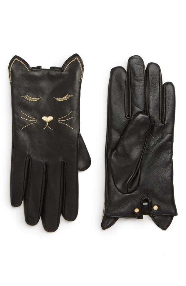 テッドベーカー レディース 手袋 アクセサリー Ted Baker London Cat Leather Touchscreen Gloves Black