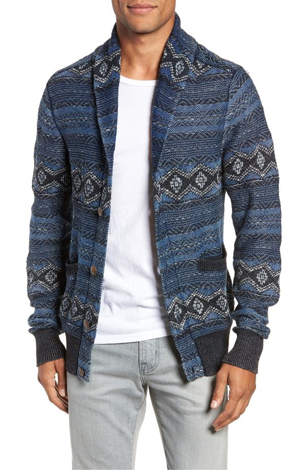 ファレティ メンズ パーカー・スウェット アウター Faherty Indigo Shore Shawl Collar Wool Blend Cardigan Mixed Indigo