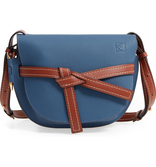 ロエベ レディース ショルダーバッグ バッグ Loewe Small Gate Leather Crossbody Bag Varsity Blue/ Pecan