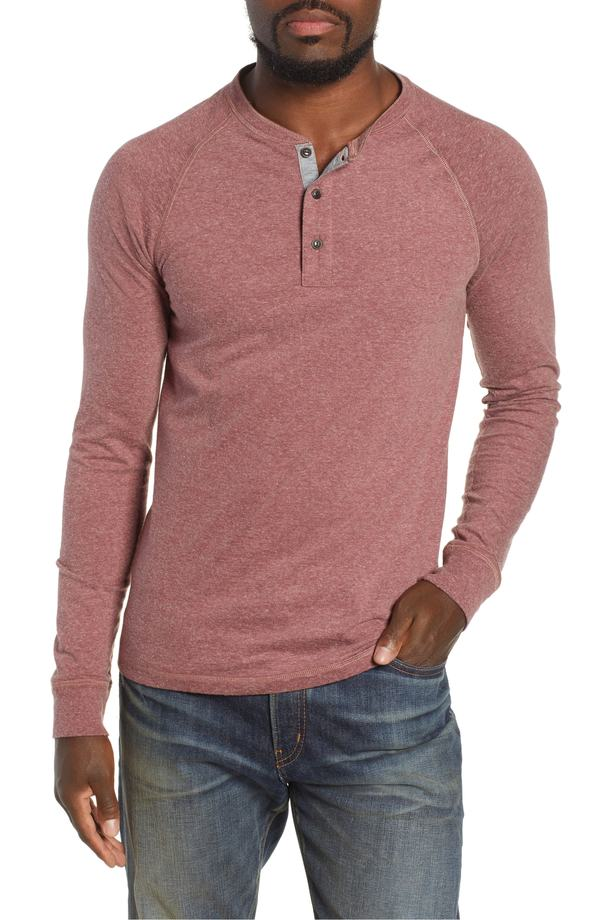 ファレティ メンズ Tシャツ トップス Faherty Luxe Heather Knit Organic Cotton Henley Burgundy