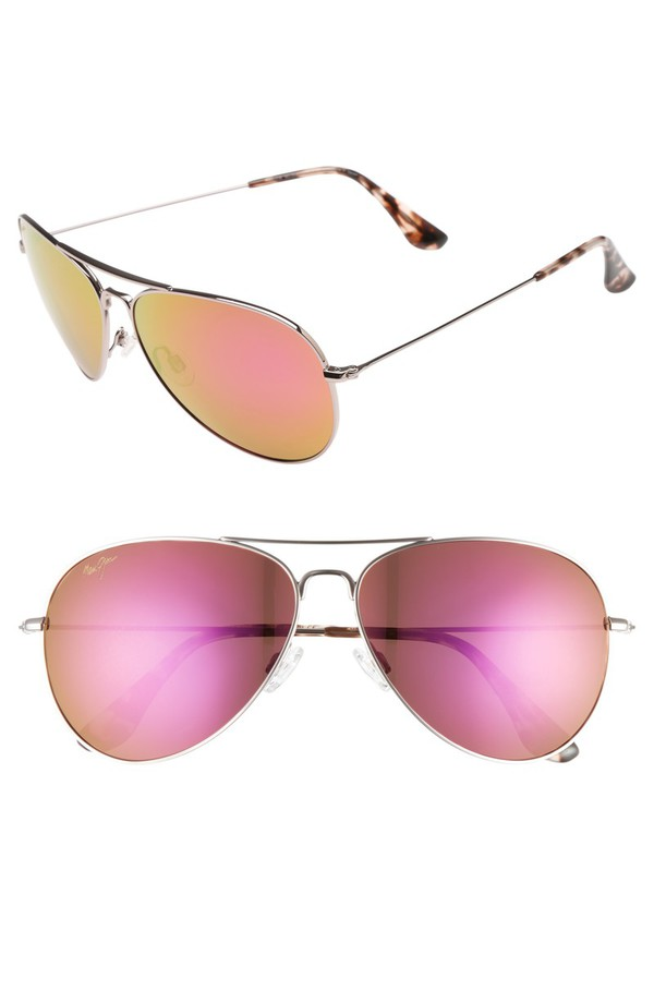 マウイジム レディース サングラス・アイウェア アクセサリー Maui Jim Mavericks 61mm PolarizedPlus2 Aviator Sunglasses Rose Gold/ Maui Sunrise