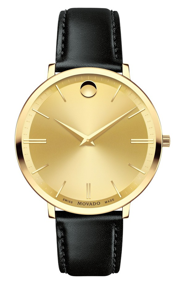 モバド レディース 腕時計 アクセサリー Movado Ultra Slim Leather Strap Watch, 35mm Gold/Black/Gold