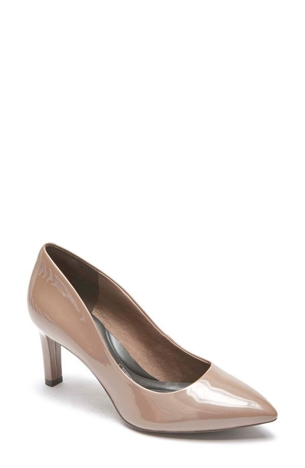 ロックポート レディース ヒール シューズ Rockport Total Motion Luxe Valerie Pump (Women) Taupe/ Grey Patent Leather