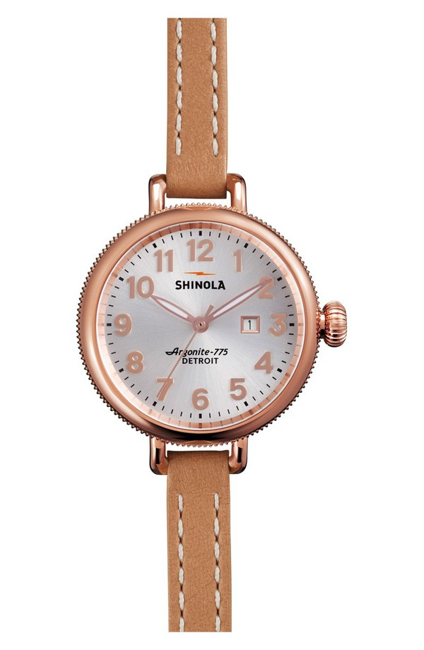 シャイノーラ レディース 腕時計 アクセサリー Shinola The Birdy Leather Strap Watch, 34mm Natural/ Silver/ Rose Gold