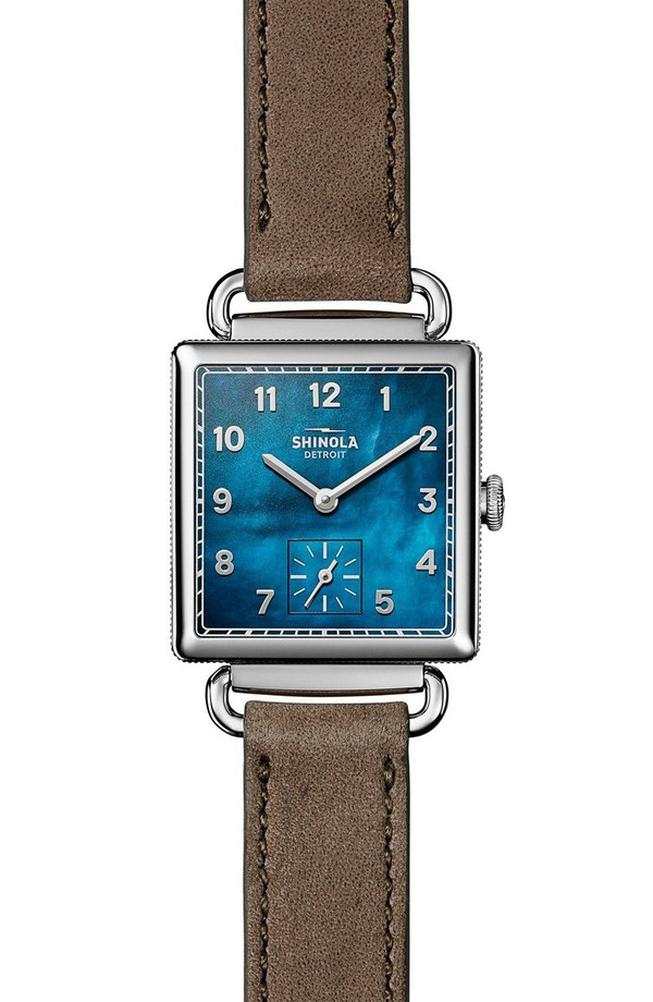 シャイノーラ レディース 腕時計 アクセサリー Shinola Cass Leather Strap Watch, 28mm Grey/ Navy Mother Of Pearl