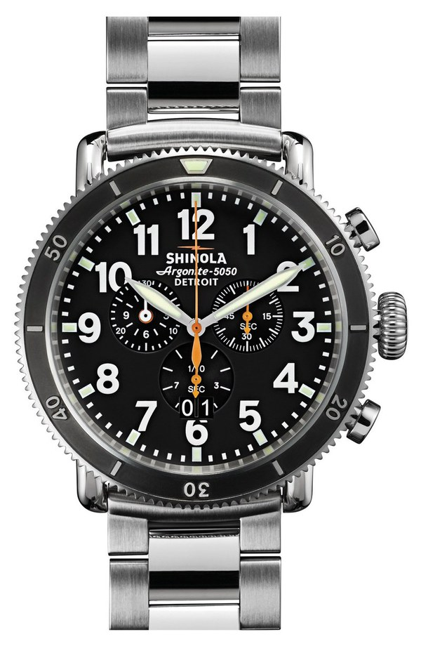 シャイノーラ レディース 腕時計 アクセサリー Shinola 'The Runwell Chrono' Bracelet Watch, 48mm Silver/ Black