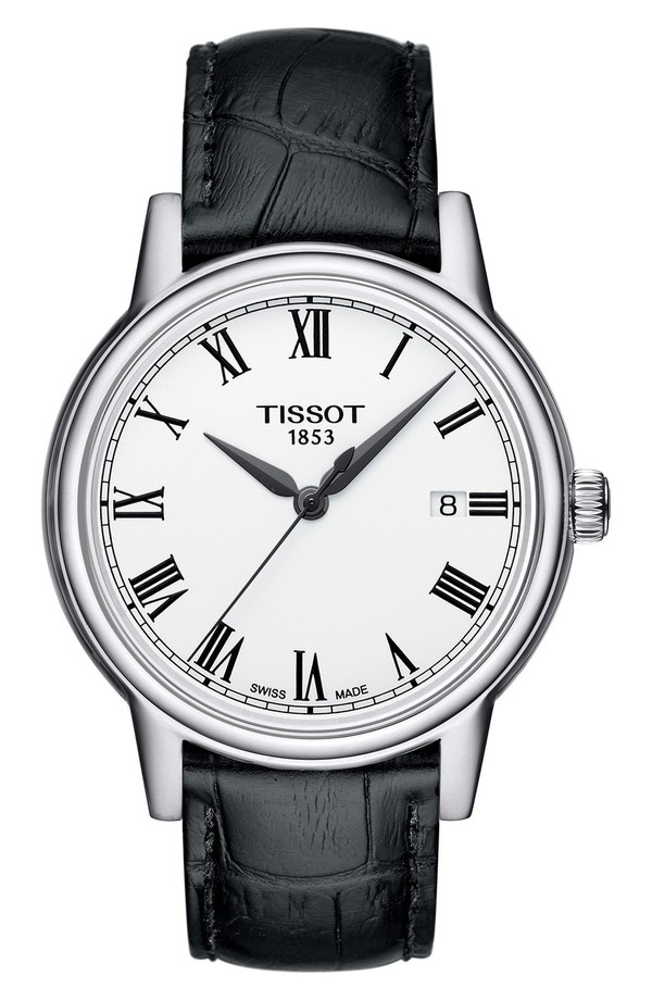 ティソット レディース 腕時計 アクセサリー Tissot Carson Leather Strap Watch, 39mm Black/ White/ Silver