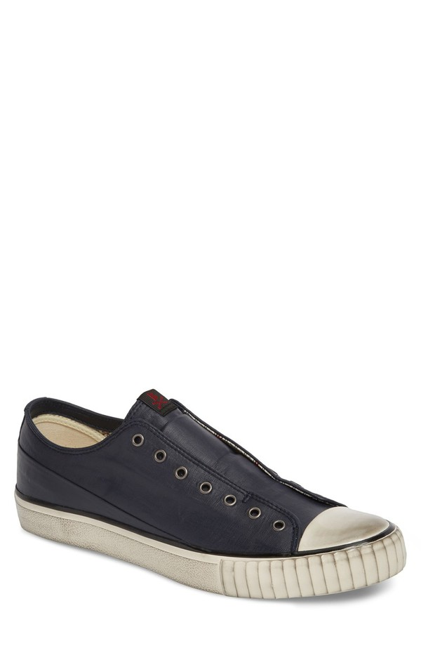 ジョンバルベイトス メンズ スニーカー シューズ John Varvatos Star USA Bootleg Linen Laceless Sneaker (Men) Midnight Linen