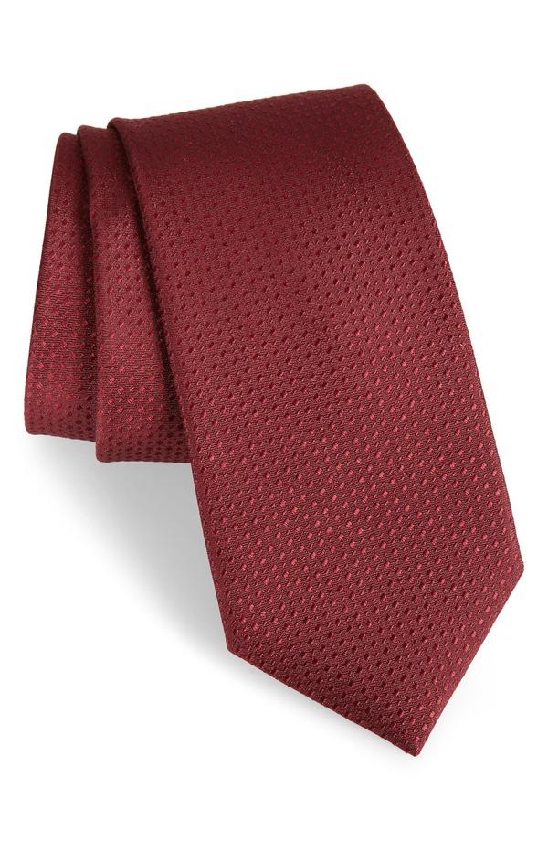 カリブレート メンズ ネクタイ アクセサリー Calibrate Ballard Solid Silk Tie Burgundy