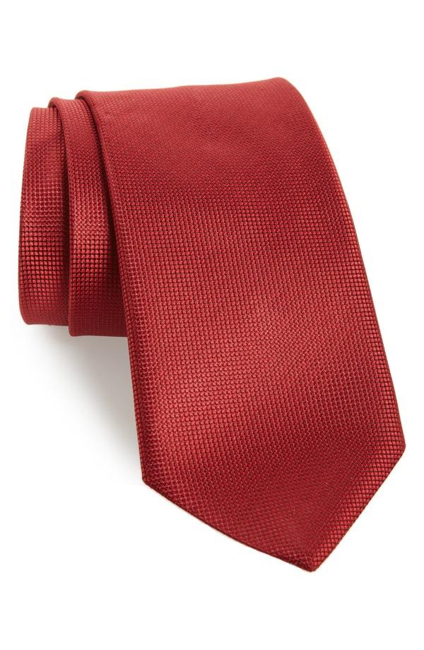 カナーリ メンズ ネクタイ アクセサリー Canali Solid Silk Tie Red